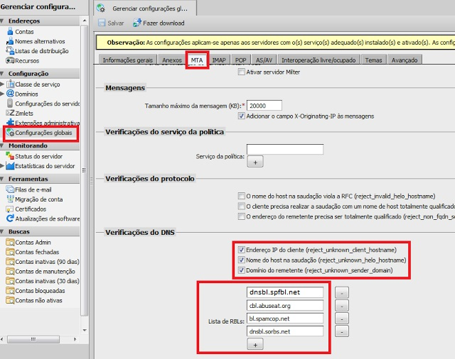 Configurar RBL / DNSBL no Zimbra – Aumente a eficiência do filtro de SPAM