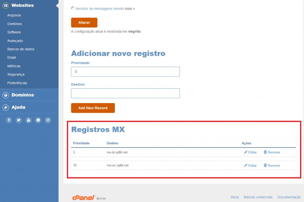 Ativação do SPAM Firewall SPFBL – Alterando registros MX no cPanel